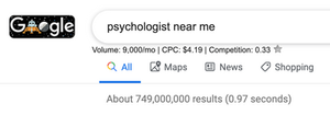 Google search for psychotherapists near me