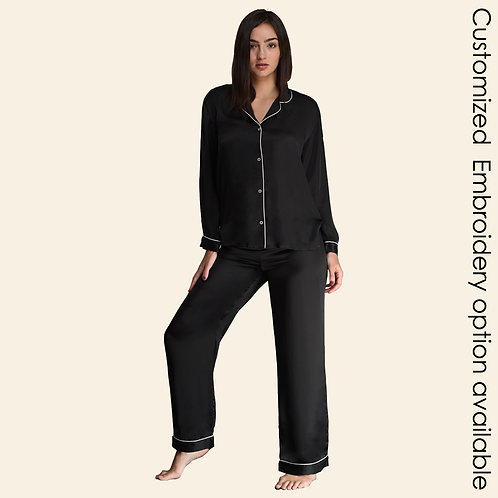 Pyjama Pant With Long Sleeves - Black (NOS Collection) - Customized Embroidery