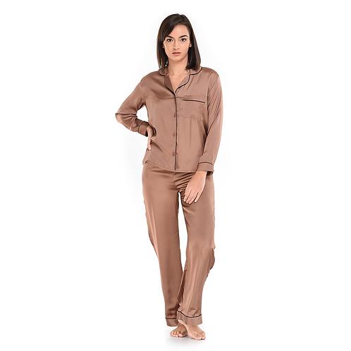 Pyjama Pant With Long Sleeves - Brown