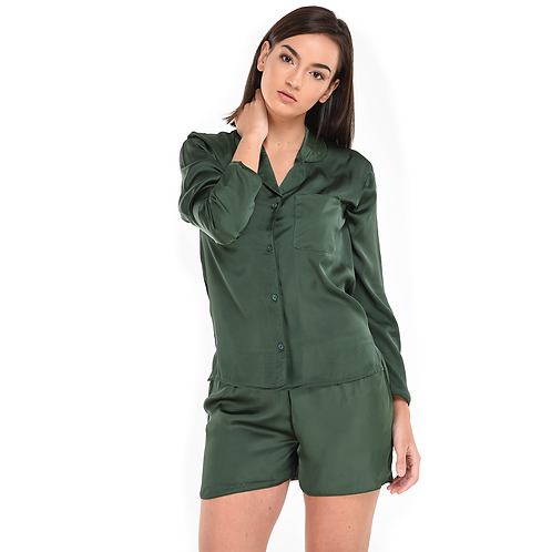 Pyjama Short With Long Sleeves Green