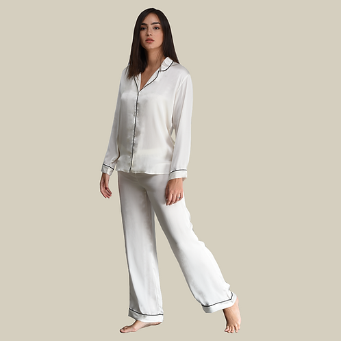 Pyjama Pant With Long Sleeves - White (NOS Collection)