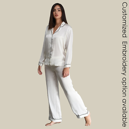 Pyjama Pant With Long Sleeves - White (NOS Collection) - Customized Embroidery