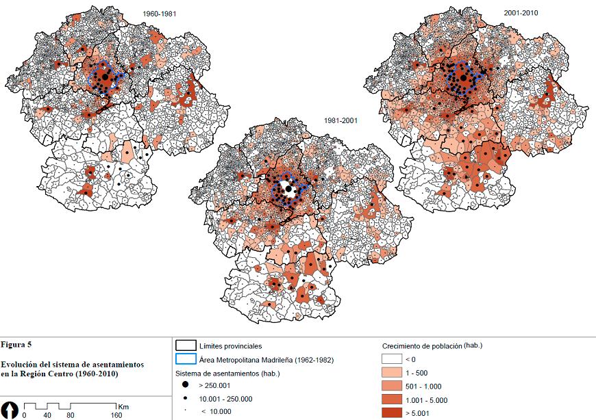 Evolución del sitema de asentamientos de la Región Centro (1960-2010). Solís Trapero, Ureña Francés, Ruiz-Apilánez Corrochano 2012.6.