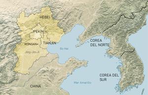 AreaJingJinJi: localización de Tianjin, Pekín, Xiongan y Hebei. Fuente: The New York Times, traducido al español.