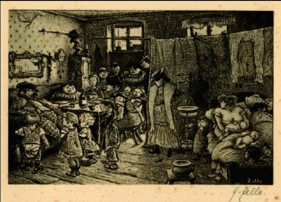 """Interior de una Mietskaserne """"Casa de las hermanas Stübbcke"""" en la que era la ciudad más densamente poblada del planeta, por Heinrich Zille, 1905."""
