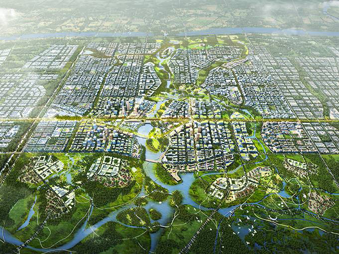 Imagen del futuro centro de Xiongan, por el estudio SOM, ganador del concurso. Fuente: SOM.