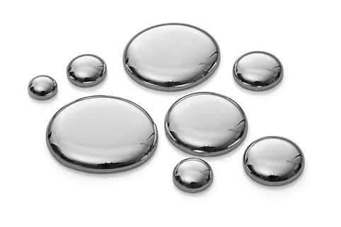 Drops of mercury isolated on white. Imag