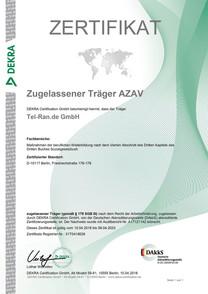 Сертификат аттестации AZAV Träger для международного учебного центра Tel-Ran