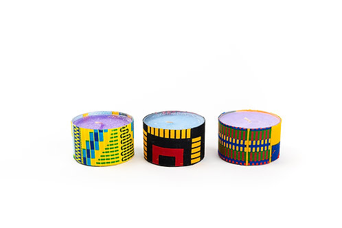 Trio of Small Nature Scented Candles in African Fabric