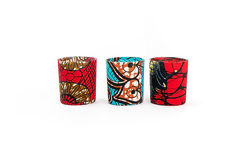 Trio of Nature  Scented Medium Candles in African Fabric