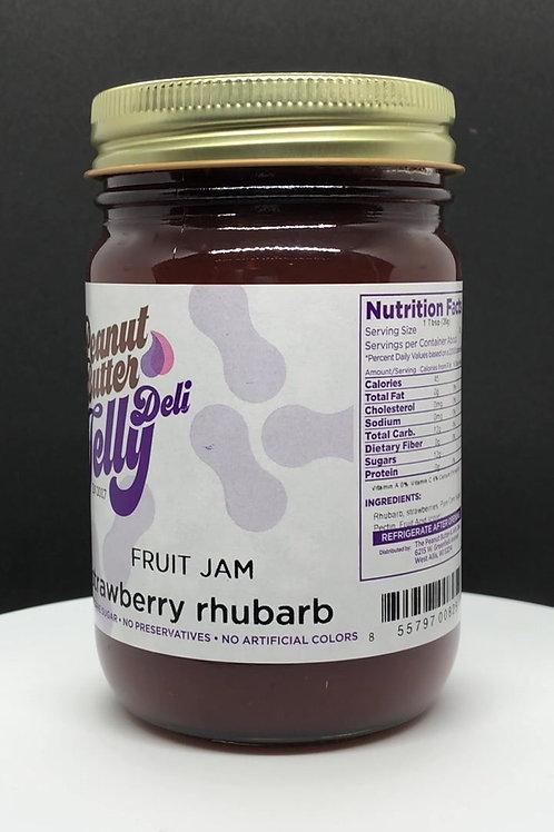 Strawberry Rhubarb Jam 16 oz Jar