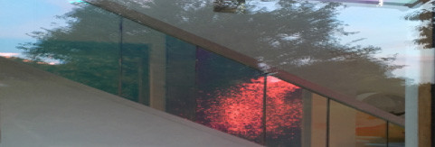 Reflection of the recent red moon lunar eclipse in glass of The Studio