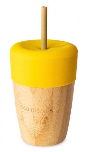 Bicchiere in bambù con cannuccia giallo - Eco Rascals