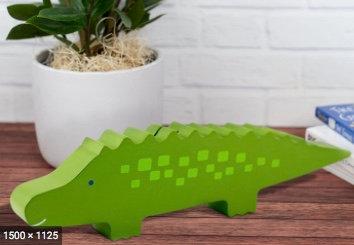 Salvadanaio in legno Coccodrillo verde - Pearhead