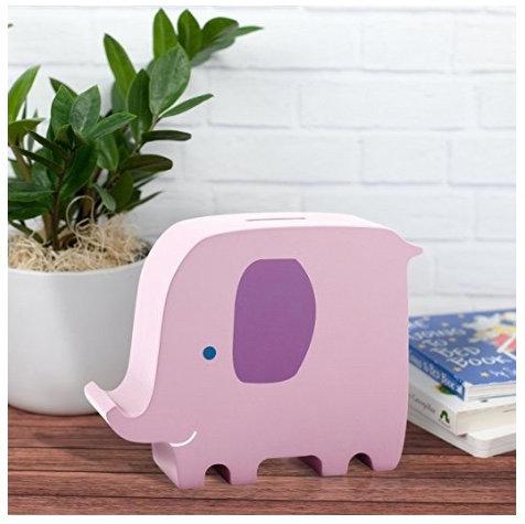 Salvadanaio in legno Elefante rosa - Pearhead