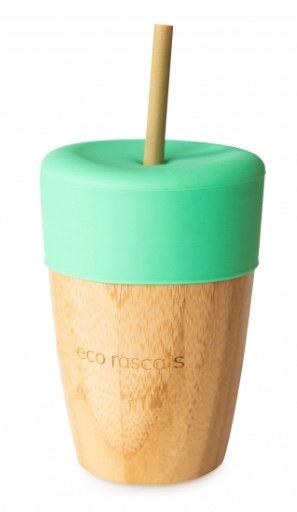 Bicchiere in bambù con cannuccia verde - Eco Rascals