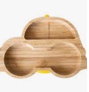 Piatto in bambù macchina gialla - Eco Rascals