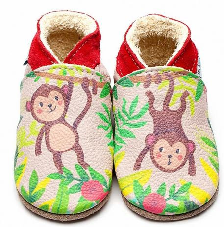 BABUCCE MONKEY PRINT SUOLA IN PELLE SMALL - 0-6 MESI - INCH BLUE