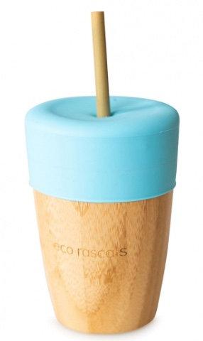 Bicchiere in bambù con cannuccia azzurro - Eco Rascals