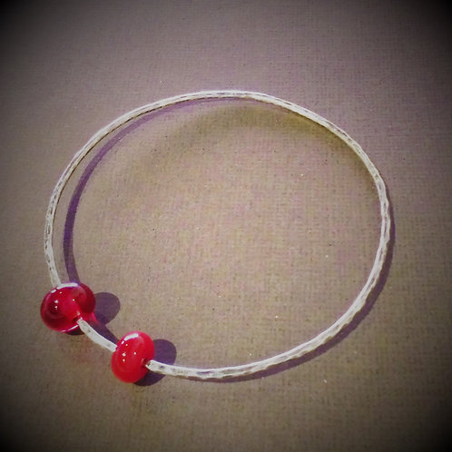 Bangle Bracelet with Red Bead