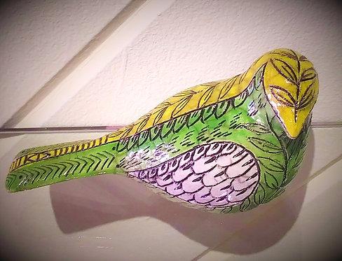 Raku Scrofitto Bird -Green & Yellow