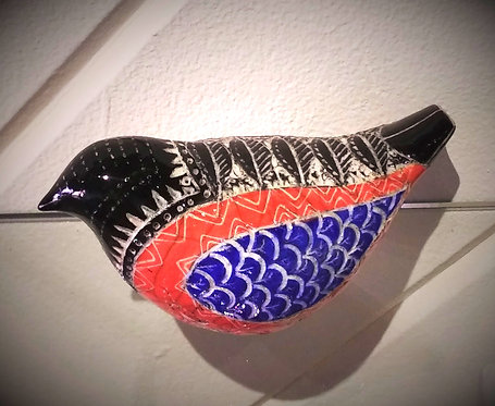 Raku Scrofitto Bird -Black, Red & Blue
