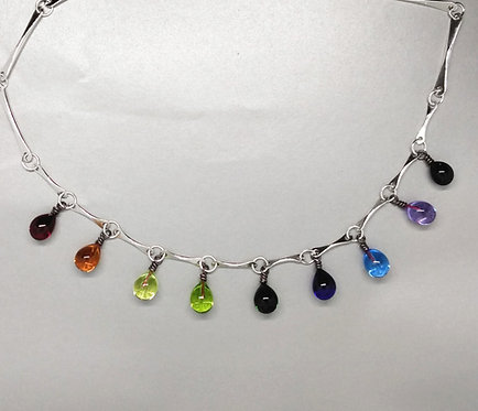 Rainbow Raindrop Necklace