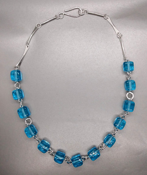 Ice Cube Aqua Bead Necklace