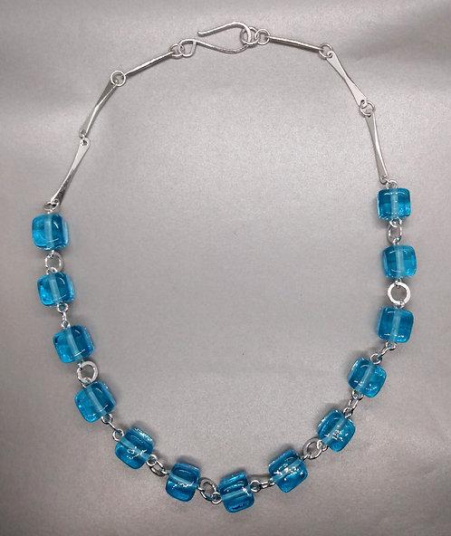 Ice Cube Aqua Bead Necklace