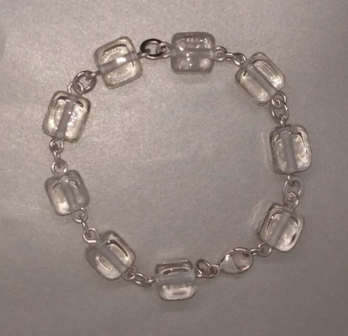 Ice Cube Clear Bead Bracelet