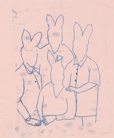 Gravure famille lapins