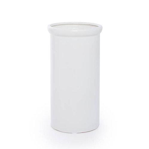 Ceramic Aphrodite Cylinder Vase Satin Matte White - 16x28cmH