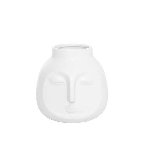 Ceramic Face Pot Vase White - 16.5cm x 16.3cm x 15.8cm