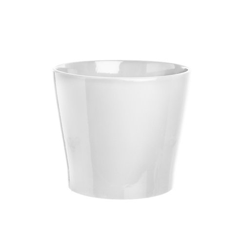 Ceramic Bravo Pot Medium Gloss White - 18Dx15cmH