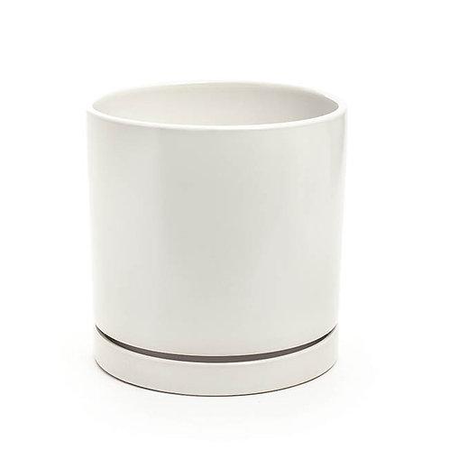 Ceramic Loreto Plant Pot & Plate White