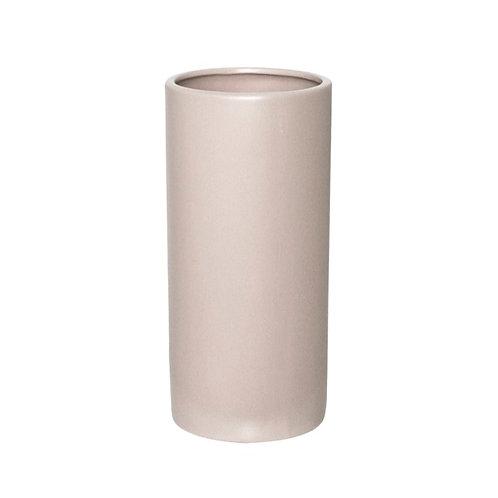 Ceramic Cylinder Pot Satin Matte Light Grey - 13x28cmH