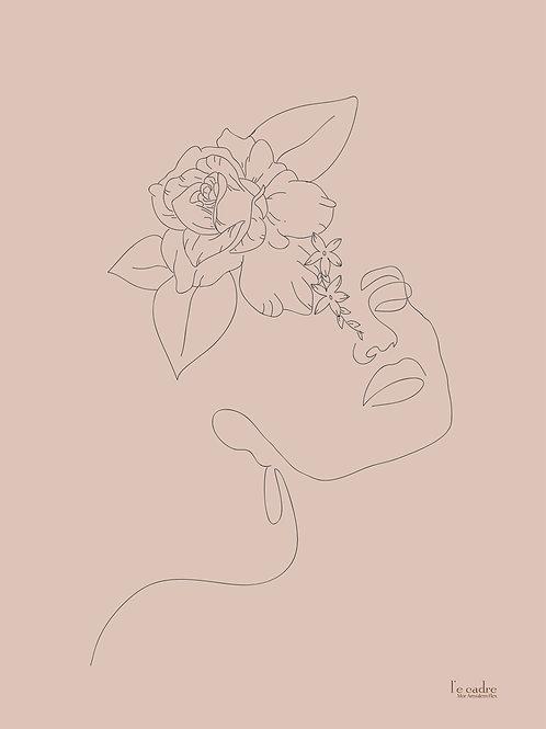 יצירת קווי מתאר עדינים של פני אישה ושזירת פרחים על ראשה