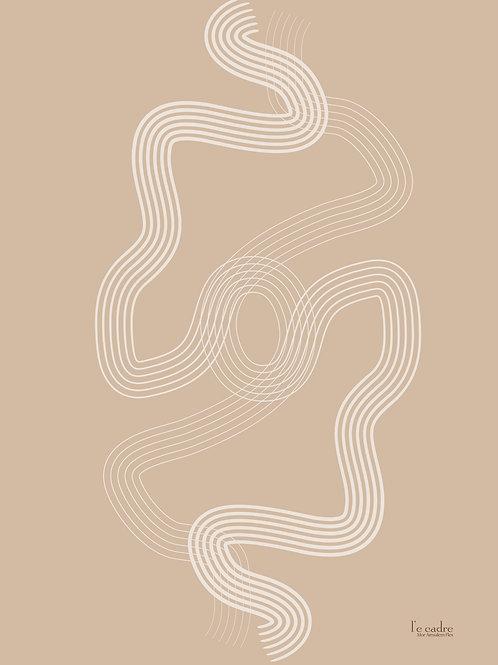 אומנות אבסטרקט צבע רקע ניוד וקווים מפותלים בגוון שמנת