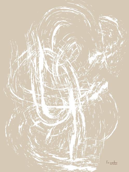 אומנות אבסטרקט קווים לבנים על רקע בגוון ניוד