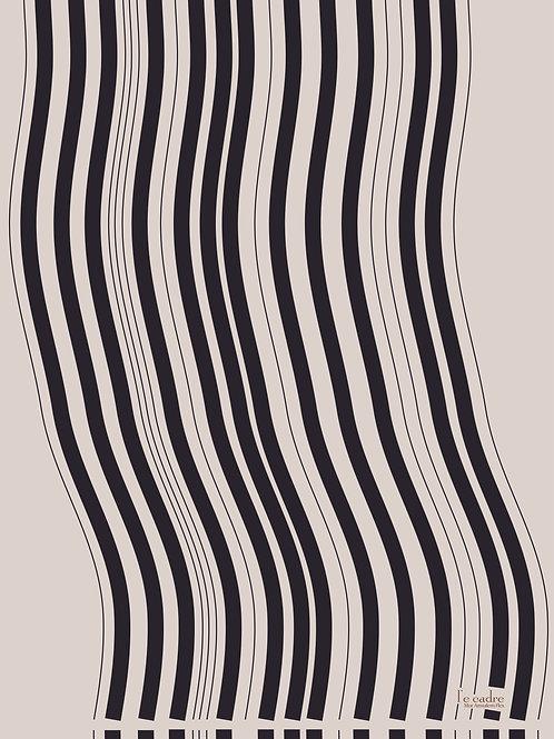 אומנות אבסטרקט בקווים עדינים בצבע שחור על רק בגוון ניוד
