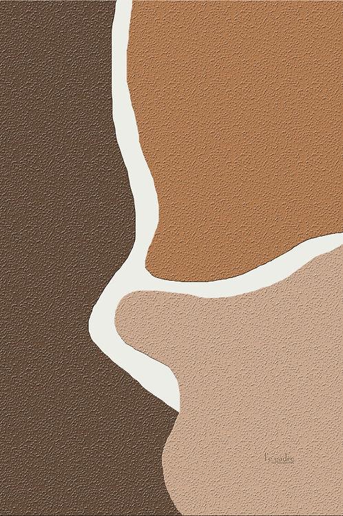 יצירה אבסטרקטית בכתמי צבע אדמה וטקסטורה מעניינת