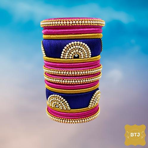 Pink Blue Golden Bangles (B42)