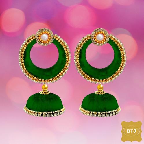Dark Green Chandbali Earrings (E14)