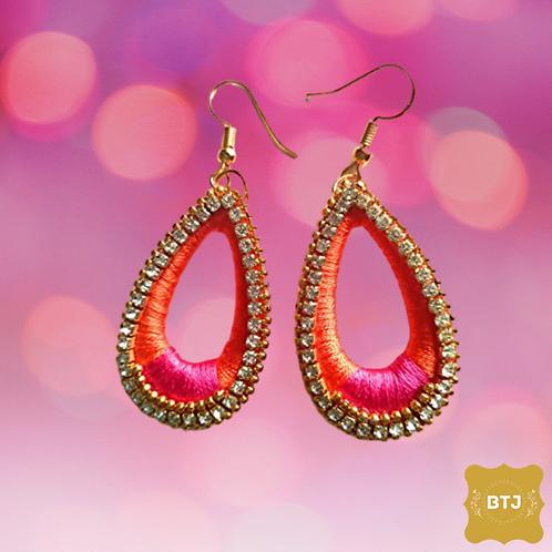 Pink Orange Oval Earrings (E15)