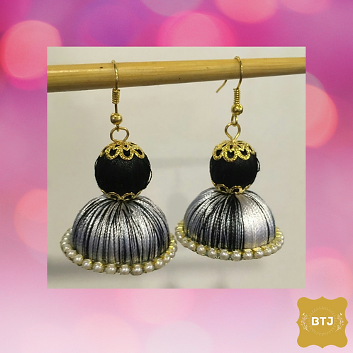 Black Silver Jhumka Earrings (E11)