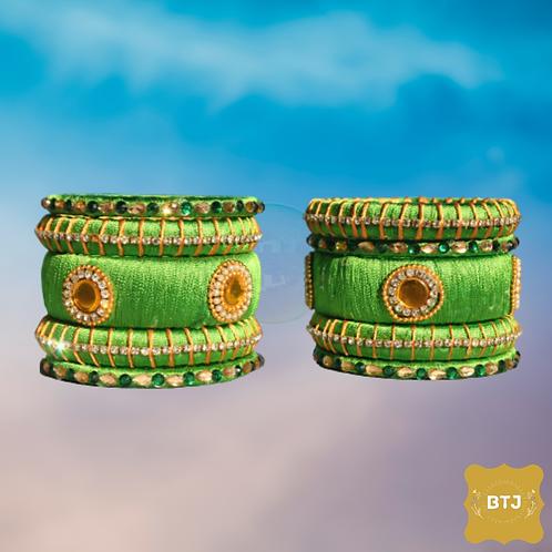 Light Green Bangles with Kada (B51)