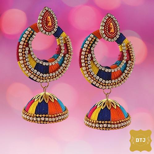 Multicolor Chandbali Earrings with Jhumka (E34)