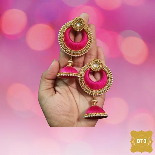 Pink Golden Chandbali Jhumka Earrings (E08)