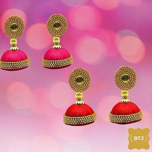 Pink Red Jhumka Earrings (E26)