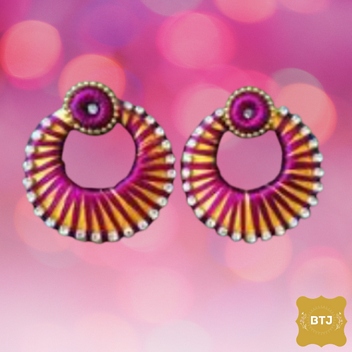 Golden Purple Chandbali Earrings (E06)